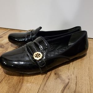 Black patent Leather Tory Burch loader flats